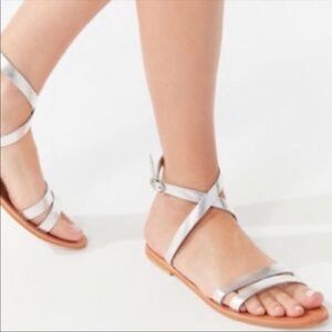 Urban Outfitters Silver Ankle Wrap Sandals Size 6